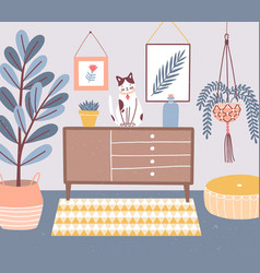 room interior with cat sitting on chest drawers vector image
