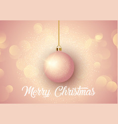 Rose gold christmas background with hanging bauble vector