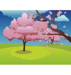 Sakura on Grass Field vector