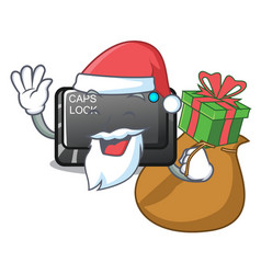 Santa with gift capslock button isolated with the vector