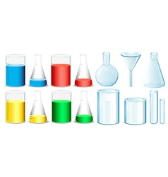Science equipment with beakers and tubes vector