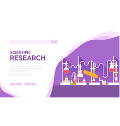 Scientific research landing page template vector