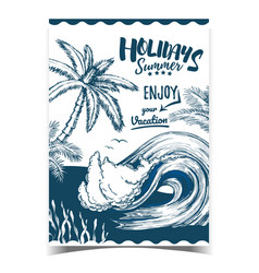 sea wave seaweed and palm trees banner vector image