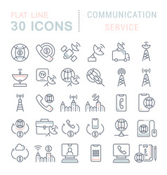 Set line icons communication service vector