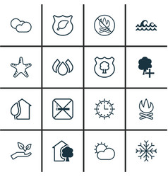 Set of 16 eco icons includes guard tree clear vector