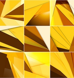 Set of abstract golden backgrounds modern material vector