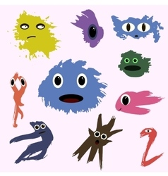 Set of funny cute monsters colored blotch children vector