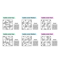 Set sudoku game with answers different complexity vector