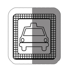 Silhouette border taxi front car icon vector