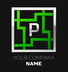 silver letter p logo symbol in the square maze vector image