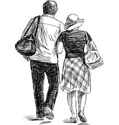 Sketch a couple citizen going for a walk vector