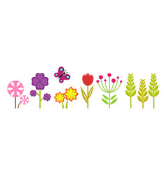 spring garden cute bright flowers meadow plants vector image