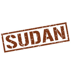 sudan brown square stamp vector image