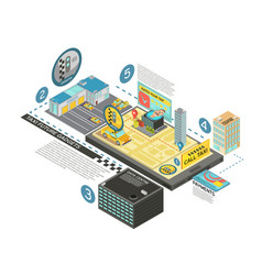Taxi future gadgets isometric infographics vector