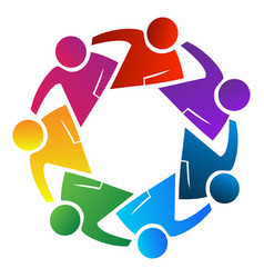 Teamwork people working together logo vector