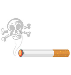 Tobacco or cigarette burns with skull isolated on vector