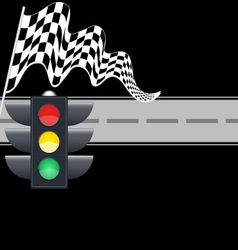Traffic light with checkered flag and road vector