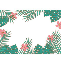 tropical summer frame with cartoons vector image