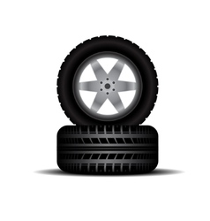 Truck tires with wheels and shadow vector