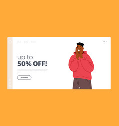 Up to 50 percent off landing page template young vector
