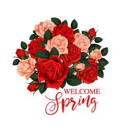 welcome spring greeting card vector image