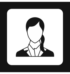 Woman with ponytail avatar icon simple style vector