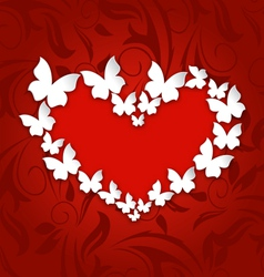 Cute postcard with heart made in paper butterflies vector image vector image