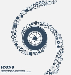 diaphragm icon Aperture sign in the center Around vector image