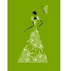 Fashion girl silhouette in wedding dress for your vector image