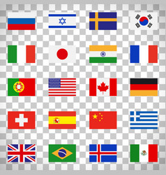 flags icons on transparent background vector image vector image