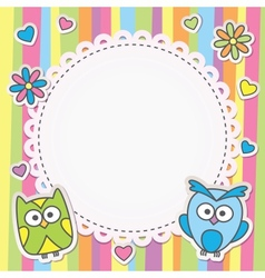 frame with owls vector image vector image