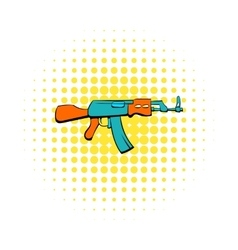 Kalashnikov assault rifle icon comics style vector image vector image