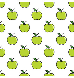 pattern with thin line green apples vector image vector image