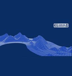 polygonal background mountain grid landscape blue vector image