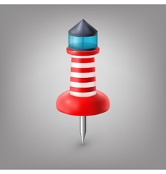 Red push pin lighthouse isolated vector image