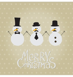 Retro Snowman with Mustache and Hats vector image vector image