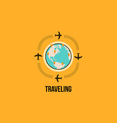 Travel design background with airplane vector