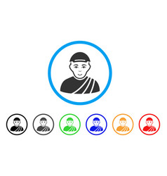 buddhist monk rounded icon vector image vector image
