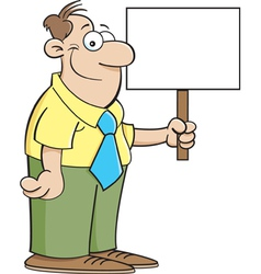 Cartoon Man Holding a Sign vector image vector image
