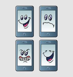 handphone emoticon icon cartoon character vector image vector image