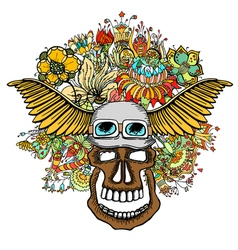 Human skull and flowers vector image vector image