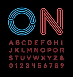 Neon font alphabet with neon effect letters and vector image vector image