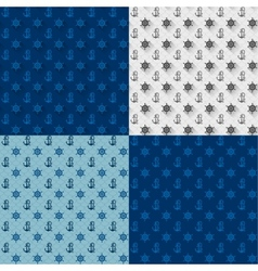 Seamless patterns set anchors and steering wheel vector image vector image