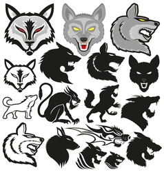 Set of wolves vector image