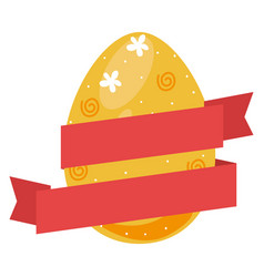 colorful easter eggs icon design with ribbon tape vector image