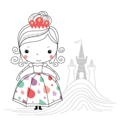 Fairytale princess -rain kids vector image