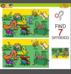 find differences with bugs animal characters group vector image vector image