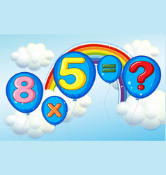 multiplication problem with sky background vector image vector image