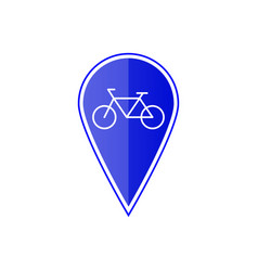 blue map pointer with bicycle vector image vector image