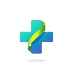 Blue medical cross logo pharmacy symbol vector image